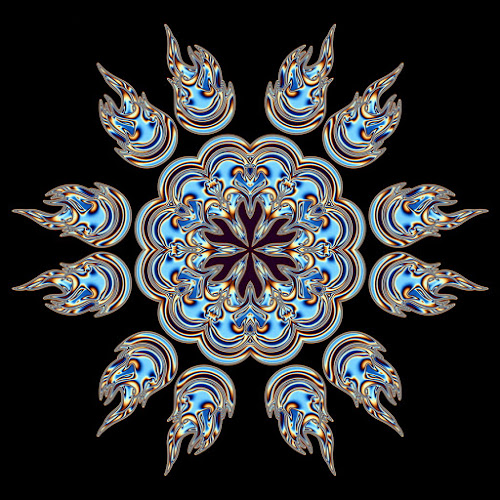 Blue 12 by Dominic Jacob - Illustration Abstract & Patterns ( abstract, wheel, abstract art, blue, digital art, digital, flower,  )