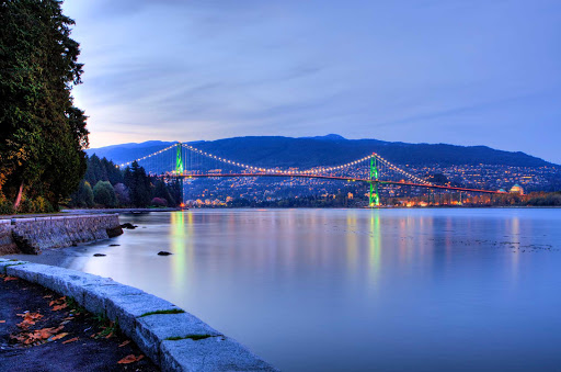 dusk-lionsgate-Bridge-Vancouver-British-Columbia - Lions Gate Bridge, opened in 1938, connects Vancouver to the North Shore in British Columbia.