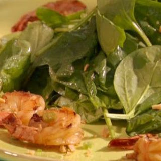 Soy Sauce-Grilled Prawn with Spinach Salad and New-Style Scampi