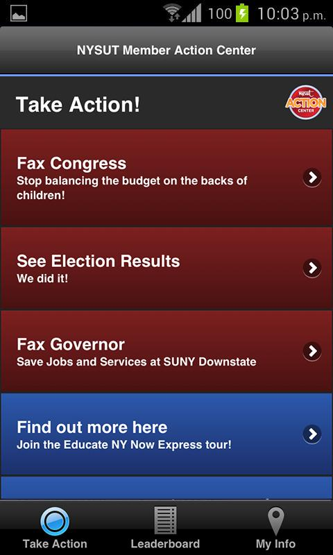 NYSUT Member Action Center- screenshot