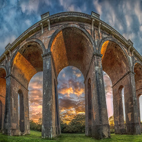 Balcombe Viaduct by Jose Rabina - Buildings & Architecture Bridges & Suspended Structures ( countryside, couds, sky, sunset, sussex, monument, sunrise, landscape )