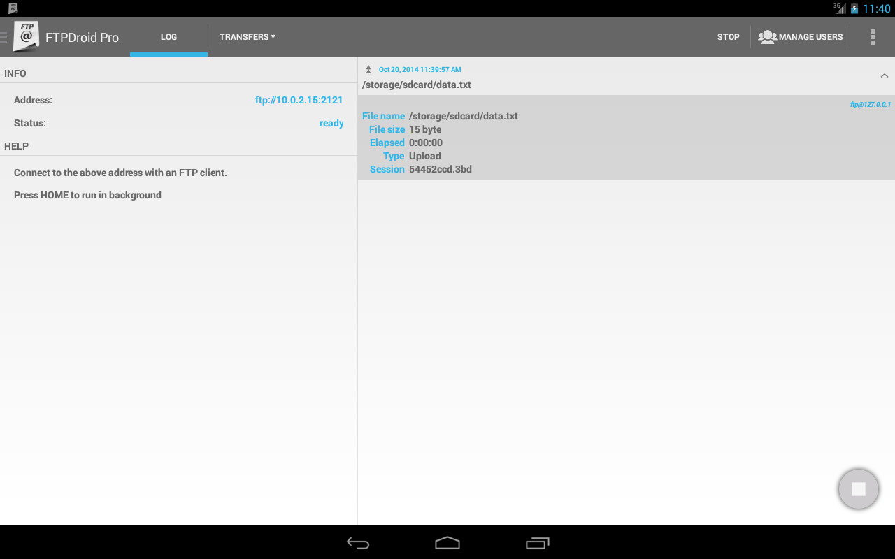 FTPDroid- screenshot