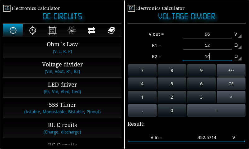 Electronics Calculator- screenshot