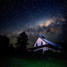 Chapel under the stars    by Chris Gonzalez - Landscapes Starscapes ( church, grass, stars, chapel, milky way )