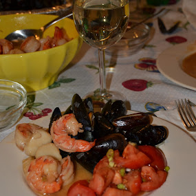Elegant Camp Fare by Jim Greene - Food & Drink Plated Food ( scallops, wine, mussels, shrimp, tomatoes,  )