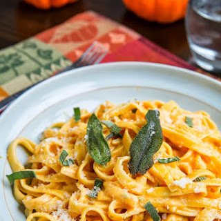 Pumpkin Goat Cheese Fettuccine Alfredo with Crispy Fried Sage