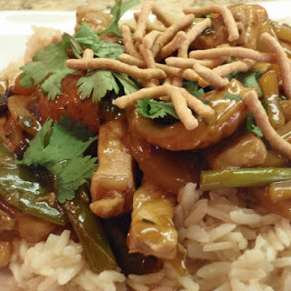 Pork And Vegetable Stir-Fry Over Brown Rice.