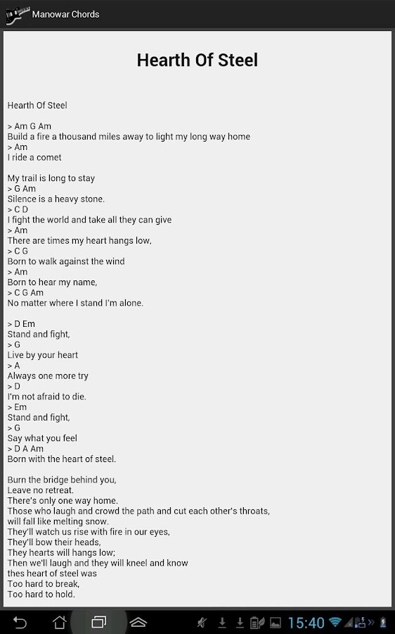 Manowar Lyrics and Chords - Android Apps on Google Play