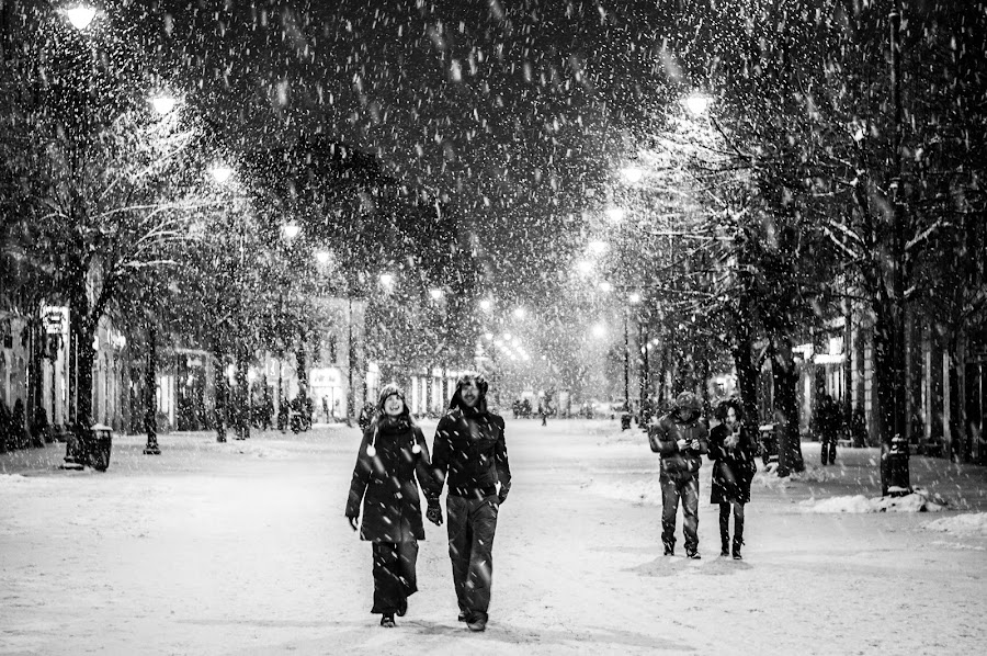 Street love by Bisca Cristian - City,  Street & Park  Street Scenes ( love, winter, black and white, snow, street, night, improving mood, moods, red, the mood factory, inspirational, passion, passionate, enthusiasm )