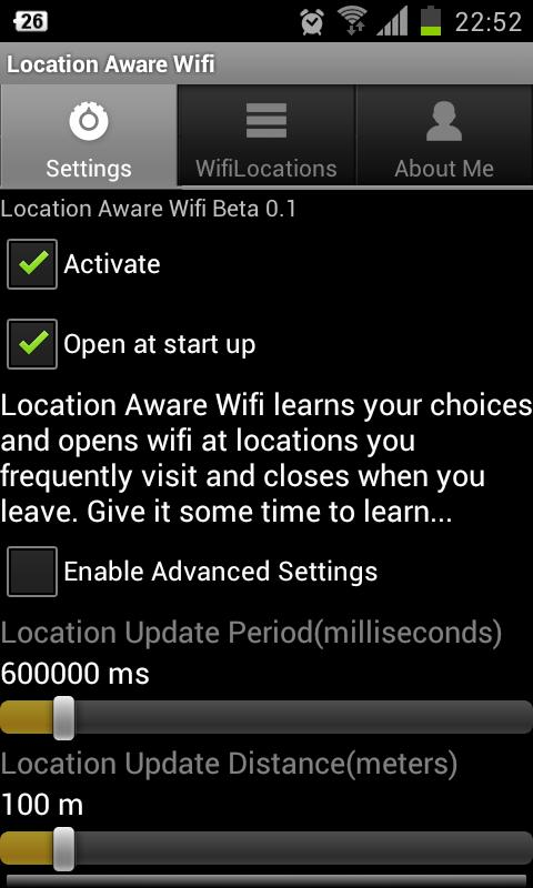 Location Aware Wifi Service - screenshot