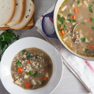 Irish Lamb and Barley Soup with Turnips.
