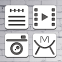 Black Line Atom Iconpack icon