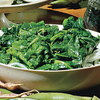 Turnip Greens Cooked in Rich Pork Stock.