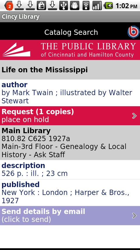 Cincinnati Public Library - screenshot