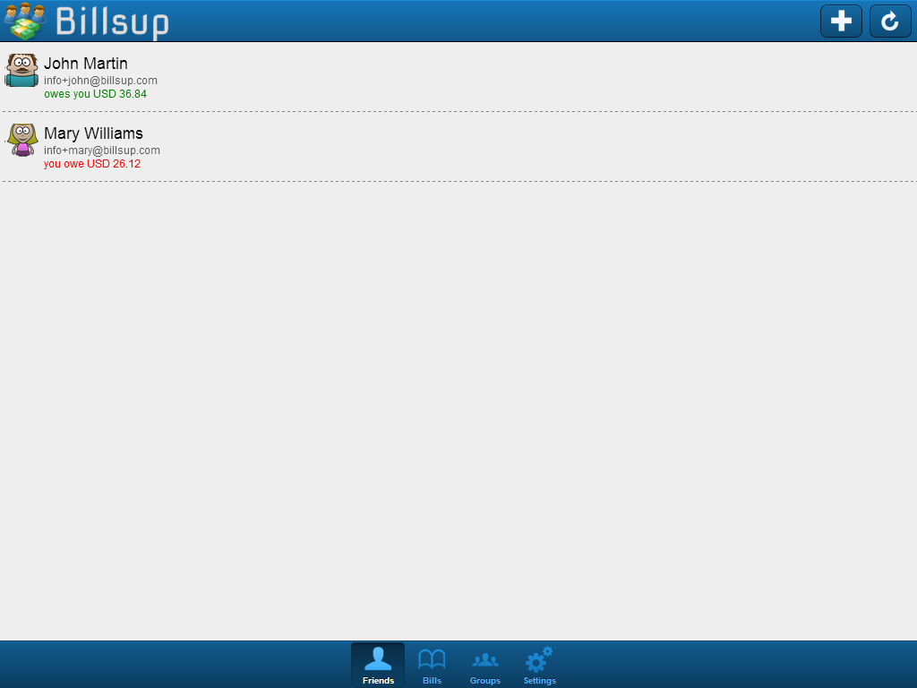 Billsup - split group expenses- screenshot