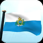 San Marino Flag 3D Wallpaper