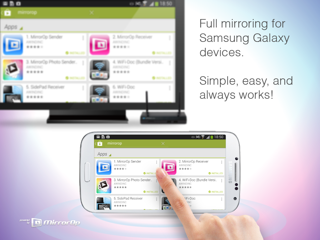 MirrorOp Sender for Galaxy: screenshot
