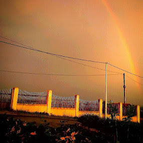 Rainbow after Rain over the Willage by Nat Bolfan-Stosic - Landscapes Weather ( orange, sky, village, rainbow, rain )