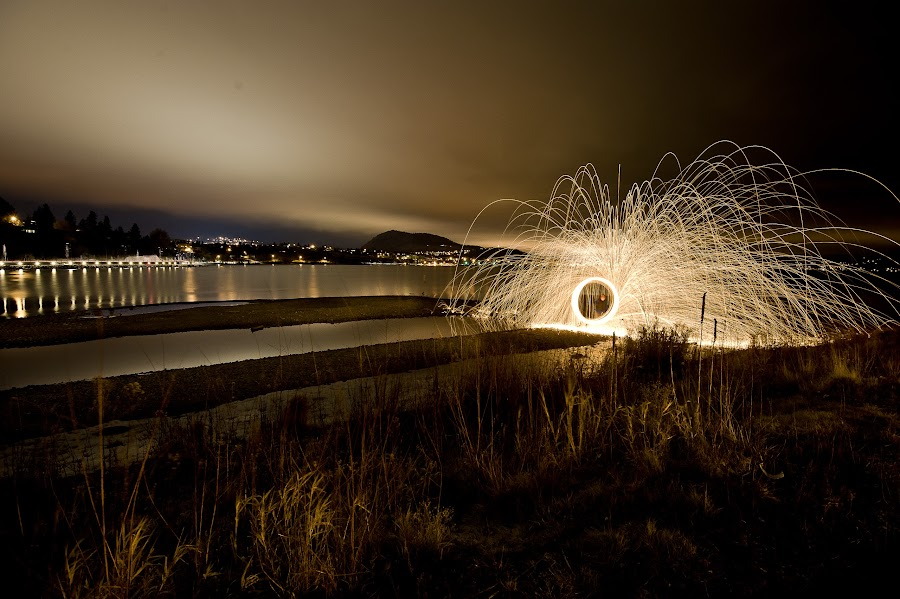 Gellatly Bay by Kelly Morris - Abstract Light Painting ( light painting, long exposure, Steel Wool, Fire, Sparks )