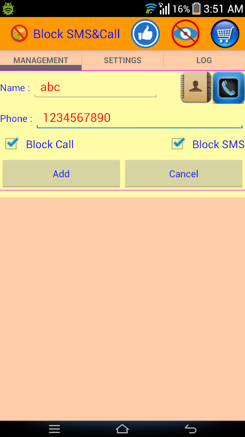 Block SMS And Call- screenshot