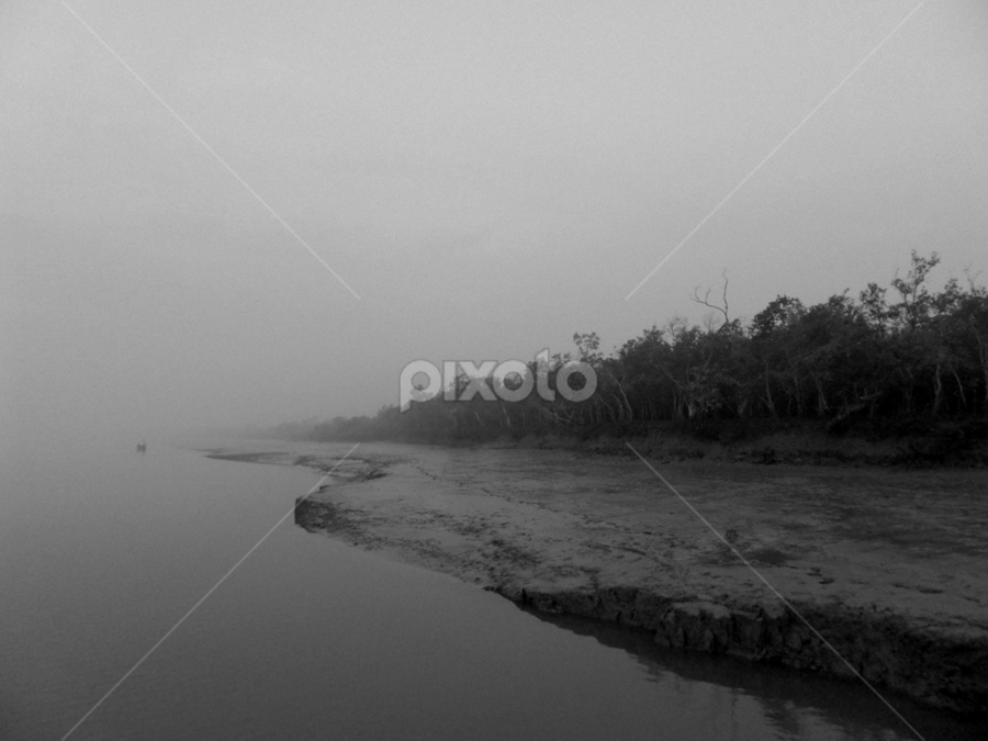 Towards the end by Kingshuk Mondal - Black & White Landscapes ( sundarban, black & white, forest, landscape, mangrove, river )