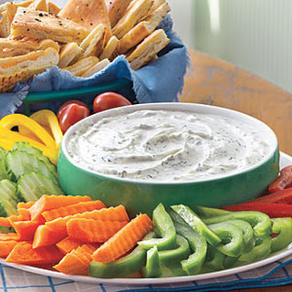 Creamy Dill Dip with Pita Chips.