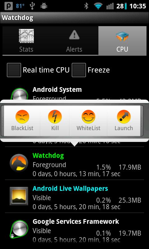 Watchdog Task Manager Lite - screenshot