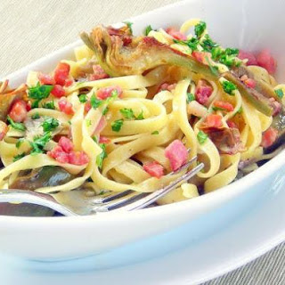 Arichoke, Pancetta and Egg Pasta Sauce -Carbonara ai Carciofi - pressure cooker