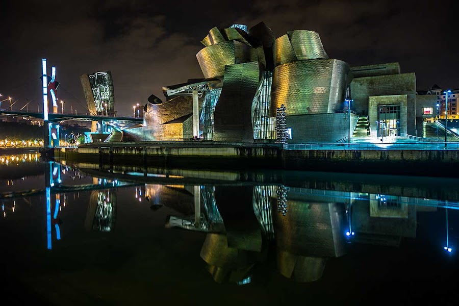 Guggenheim Bilbao by Wizard Le Cascadeur - Buildings & Architecture Statues & Monuments ( long exposure building monument night )