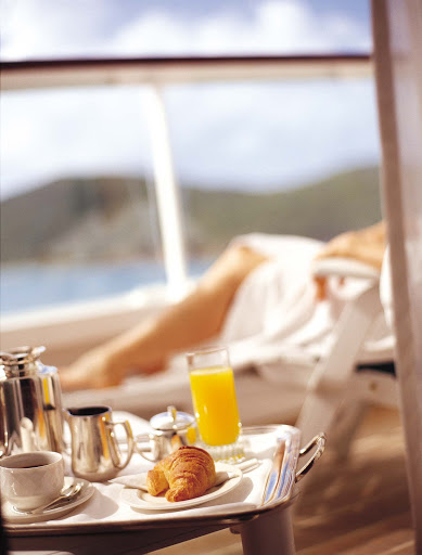 Luxury-Service-Breakfast-on-the-Veranda - Your stateroom veranda is the perfect place to enjoy a relaxing private breakfast as the day begins aboard a Crystal cruise.