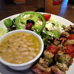 Chicken skewers with white beans and Greek salad- soo good!!