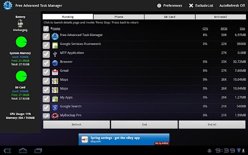 Free Advanced Task Manager – Vignette de la capture d'écran