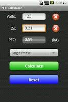 Screenshot of Fault Current Calculator Free