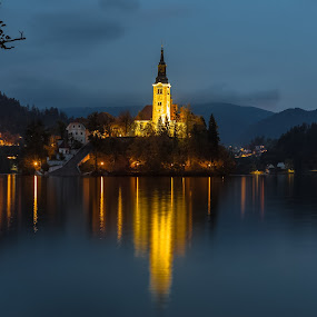 Lake Bled Chapel by Stephen Bridger - Buildings & Architecture Places of Worship ( reflection, europe, church, lake, chapel, travel, island, night photography, slovenia, bled, night, night shot, travel photography, lake bled )