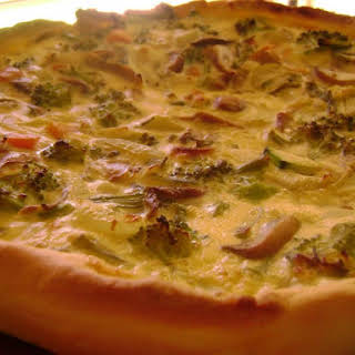 Broccoli and Mushroom Quiche.