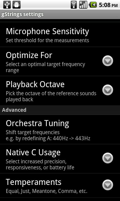 Tuner - gStrings - screenshot