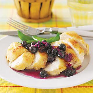 Sautéed Chicken with Fresh Blueberry Sauce.