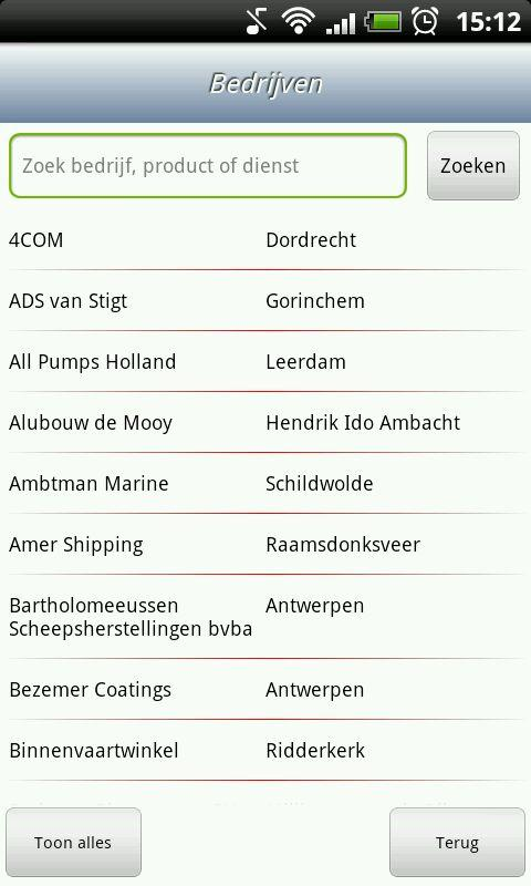 Scheepvaarttelefoongids- screenshot