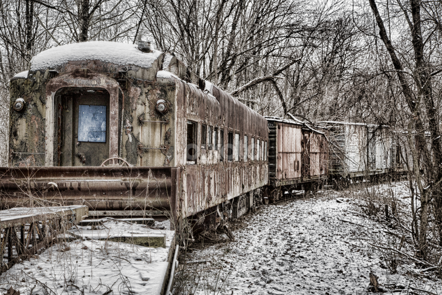 Ghost Train by Kim Wilhite - Transportation Trains ( railway, train, transportation, antique )