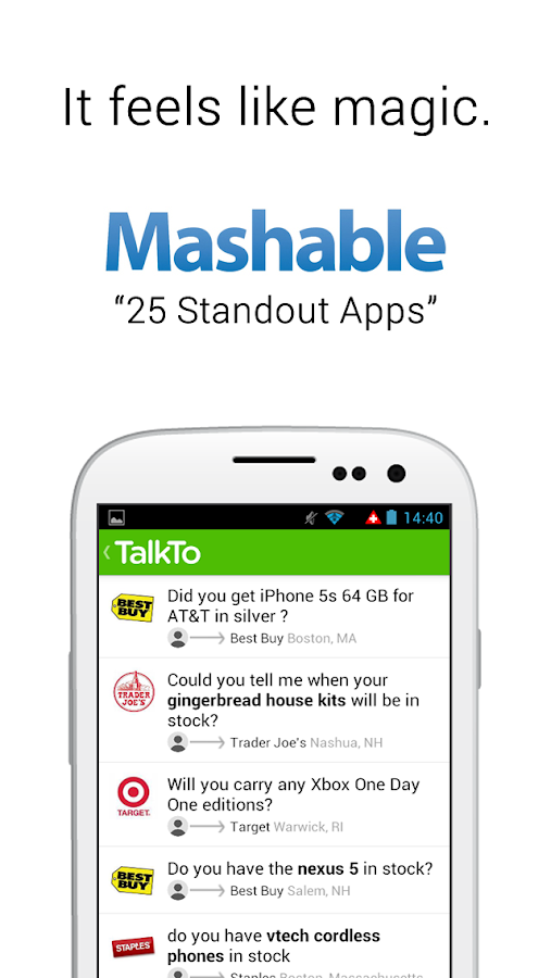 TalkTo - Answers by businesses - screenshot