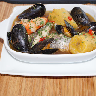 Seafood & Sweet Plantain Pepper Soup.