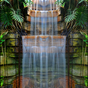 glass falls by Jay Anderson - Landscapes Waterscapes ( milwaukee, water, plant, relax, art, fall, falls, mirrored, water falls, rock, double, , Free, Freedom, Inspire, Inspiring, Inspirational, Emotion )