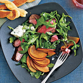 Flank Steak Salad with Plums and Blue Cheese.