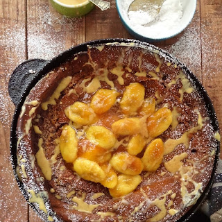 Spiced Chocolate Dutch Baby Pancake With Caramelised Bananas & Peanut Butter Drizzle