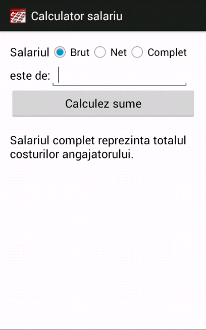 Calculator salariu- screenshot