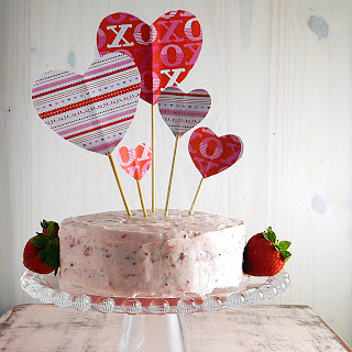 Valentine's Day Strawberry Cake for Two.