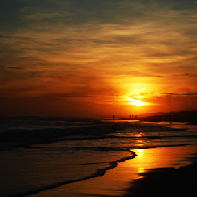 Closing Fire by Arifah Mardiningrum - Landscapes Sunsets & Sunrises ( orange, sky, sunset, beach, dusk )