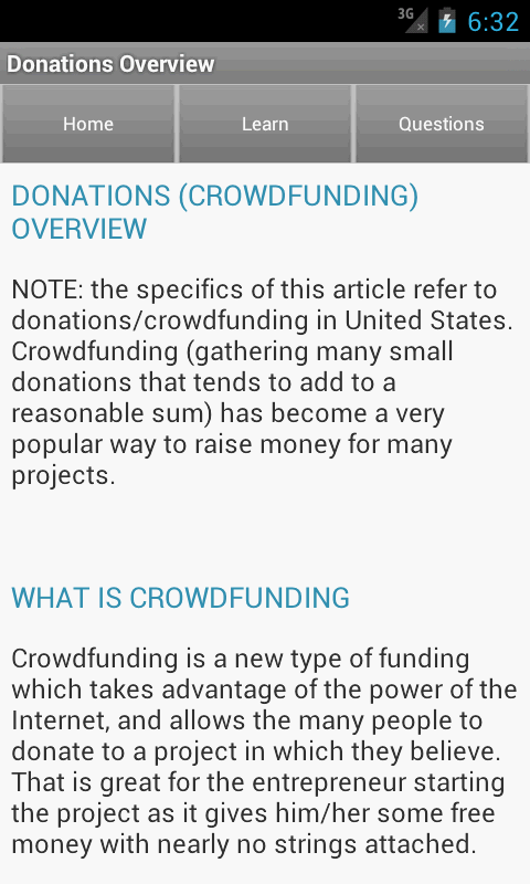 Funding & Fundraising Ideas- screenshot