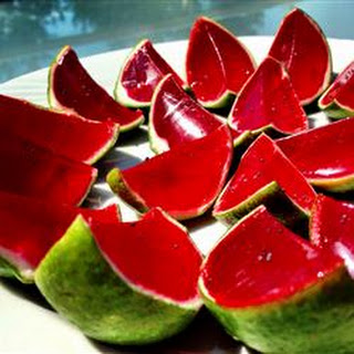 Sliced Watermelon Jell-O® Shots.