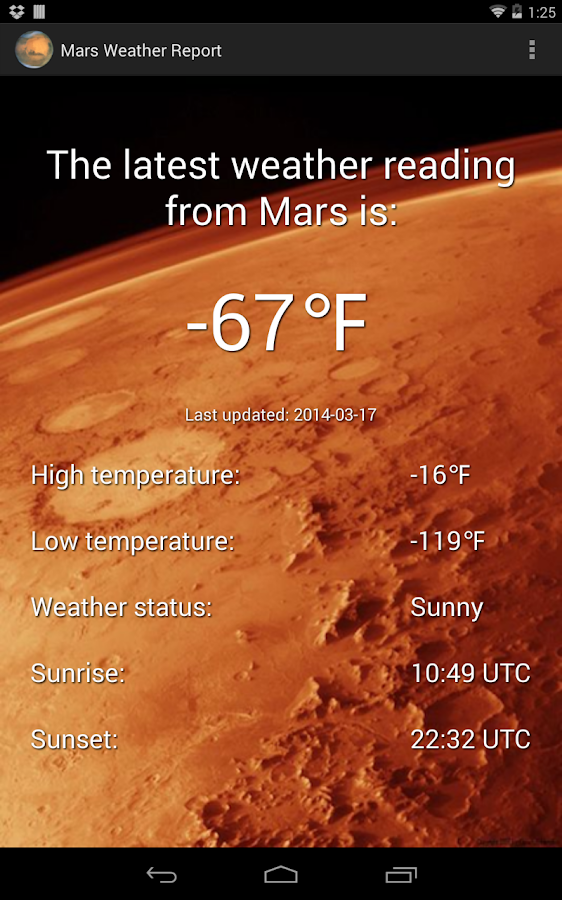 Mars Weather Report- screenshot